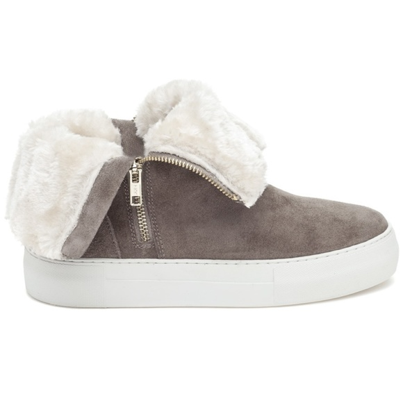 f2e5040da841 J Slides Zip High Top Sneaker with Sherpa Taupe